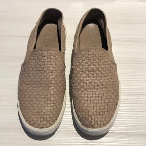 Vince Weaved Nappa Leather Slip On Flats 7.5